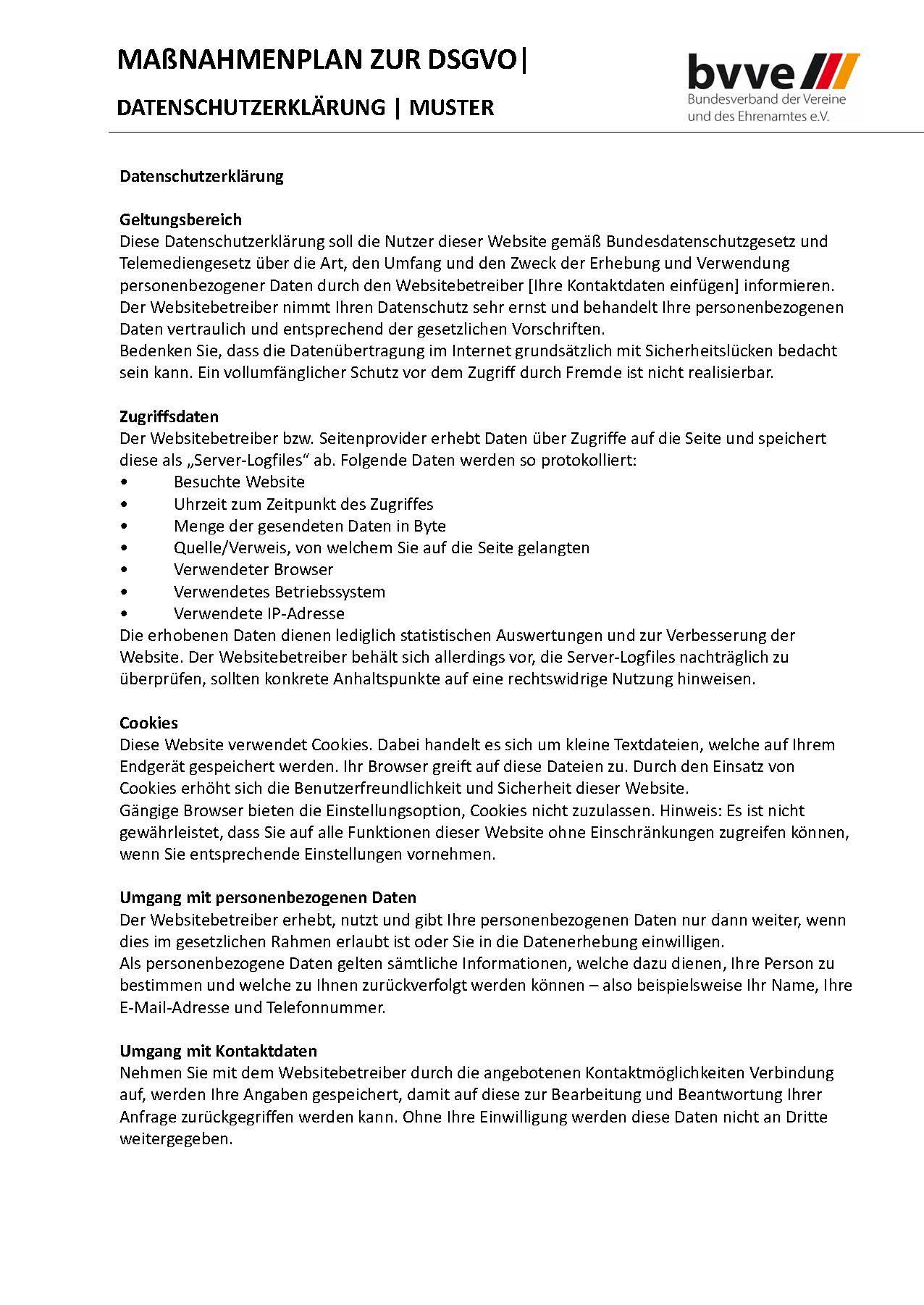 Handbuch zum Tagesseminar DSGVO bvve Auszug Datenschutzerklärung