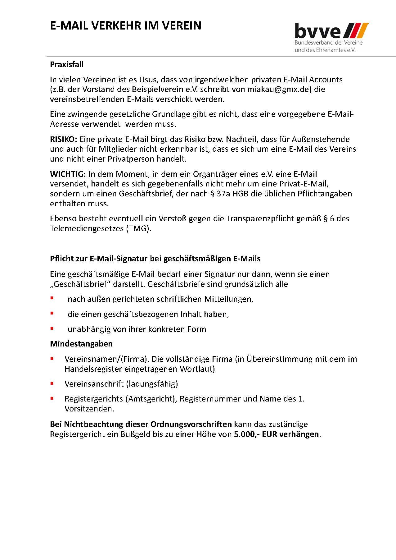 Handbuch zum Tagesseminar DSGVO bvve Auszug E-MAIL VERKEHR IM VEREIN